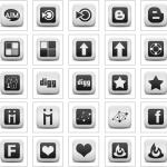 Mat Beyaz Kare Sosyal Medya Logoları